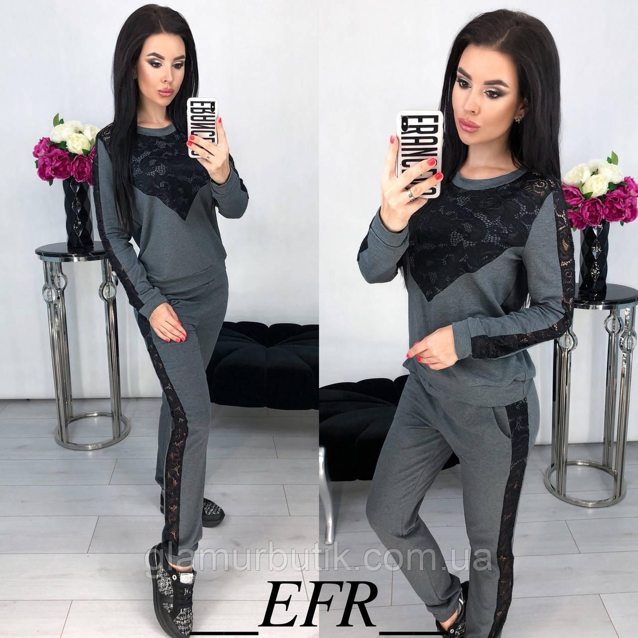 10f7d10162b Женский трикотажный костюм штаны кофта с гипюром серый S-M L-XL ...