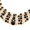 Колье и серьги, комплект, набор бижутерии, ожерелье с черными камнями, фото 4