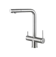 Смеситель кухонный с подключением фильтрованной и минерализованной воды 4 в 1 Fabiano FKM 31.40 S-Steel Inox
