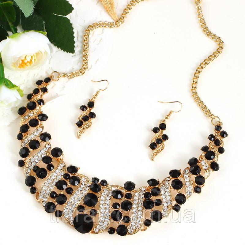 Колье и серьги, комплект, набор бижутерии, ожерелье с черными камнями