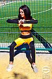 Спортивный костюм: лосины и топ с длинным рукавом, черно-оранжевый , фото 4
