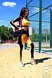 Спортивный костюм: лосины и топ с длинным рукавом, черно-оранжевый , фото 7