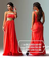 Платье в пол, в котором вы почувствуете себя царицей - из легкого шифона, многослойное, украшено пайетками, на одной бретельке, коралловое