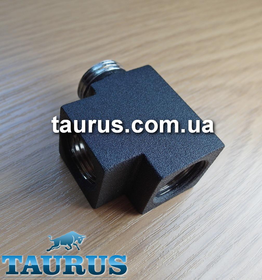 """Чорний квадратний трійник PREMIUM CUBE BLACK 1/2"""" c ущільнювальним кільцем для рушникосушок, Італія"""