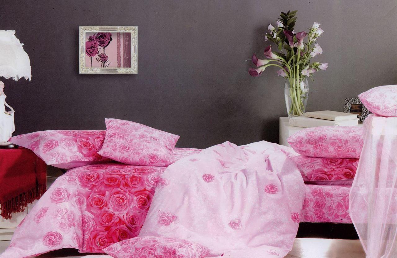 Полуторное постельное белье ТМ Kessar Polo (сатин) Роза