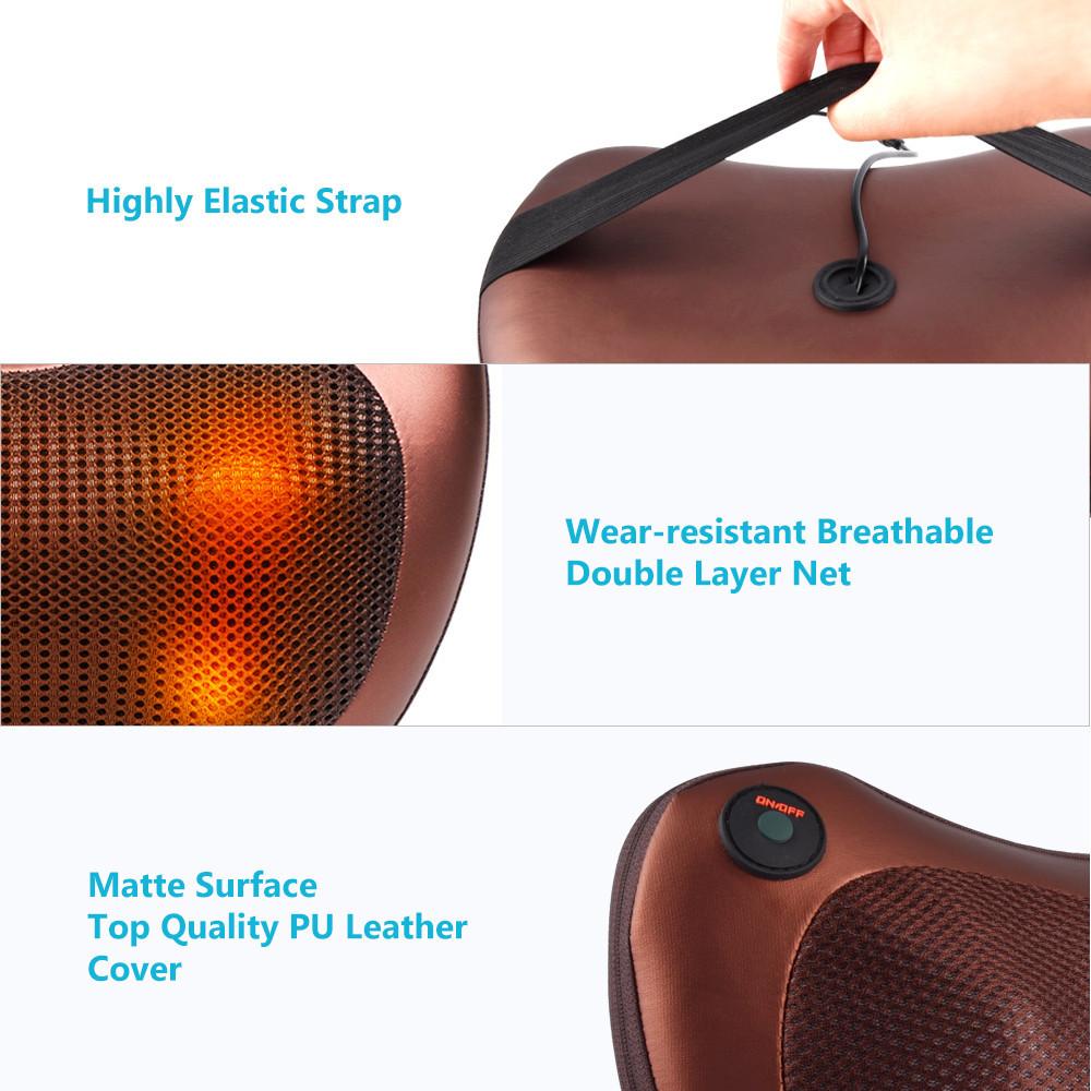 Массажная подушка 3 уровня Massage pillow QY-8028 для шеи плеч и спины автомобильный роликовый массажер 2 в 1