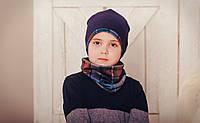"""Комплект шапка и снуд для мальчика синий в клетку """"Роберт"""", 48, 50, 52, 54,56"""