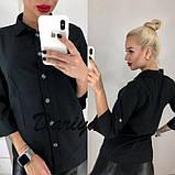 Женская черная классическая блуза на пуговицах 42,44,46р, фото 2