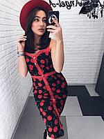 Модное нежное женское платье с вишенками