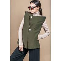 Двухсторонний женский жилет 42 -48 пальтовая ткань и х\б цвет оливковый и бежевый