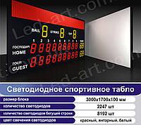 Светодиодное спортивное табло универсальное LED-ART-Sport-3000х1700-6343