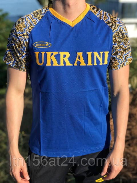 Мужская футболка Bosco Sport ua  синяя c Украиной впереди   Италия🇮🇹 S М L XL XXL XXXL