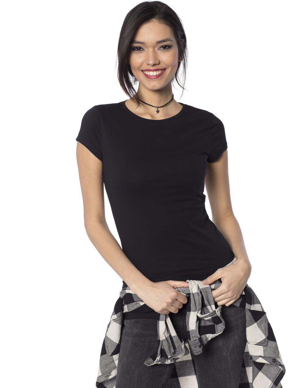 Черная женская футболка Lc Waikiki / Лс Вайкики с круглым вырезом
