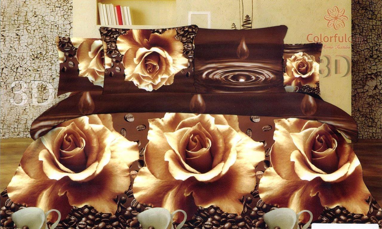 Комплект двуспального евро постельного белья 3D (коттон) Роза