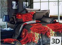 Комплект постельного белья 3D (коттон) Роза-виноград фирмы Queensilk
