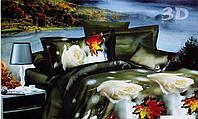 Комплект евро постельного белья 3D (коттон) Кленовый лист фирмы Queensilk