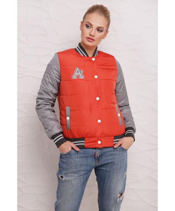 Демисезонная женская куртка бомбер  42-50 коралл