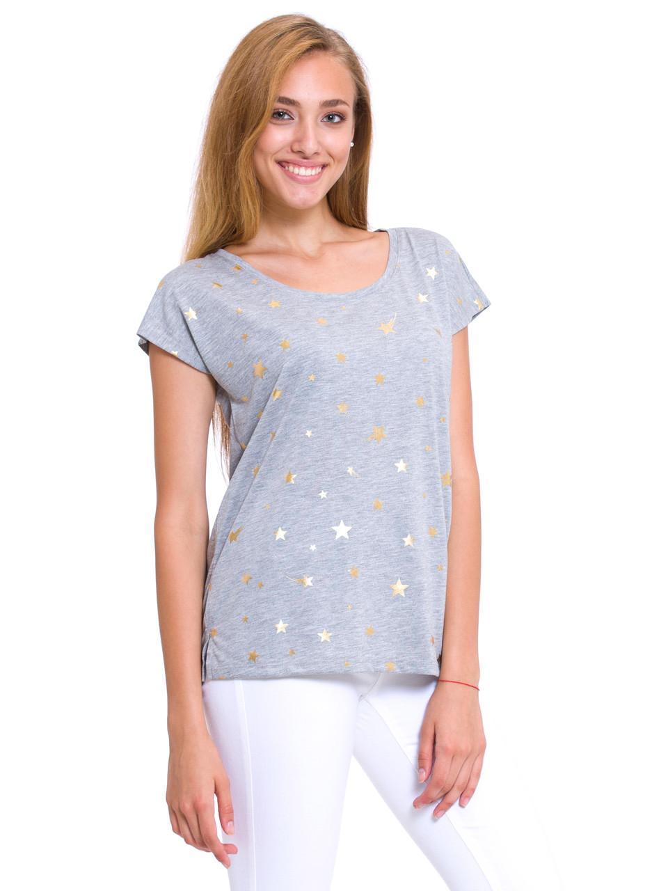 Серая женская футболка Lc Waikiki / Лс Вайкики с золотыми звёздочками