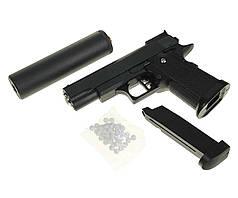Игрушечный пистолет Galaxy G.10A с глушителем (металл.+пластик)