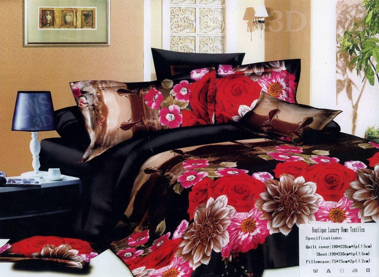 Комплект двуспального постельного белья 3D (коттон) Роза дельфин
