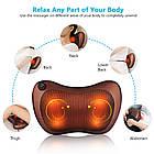 Подушка роликовая массажная автомобильная Massage pillow QY-8028 от боли инфакрасный подогрев от прикуривателя, фото 7