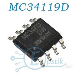 MC34119D, аудио усилитель низковольтный, 2-16В, SOP8