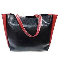 0754 Чёрно-красная сумка женская из экокожи (минимальное повреждение)