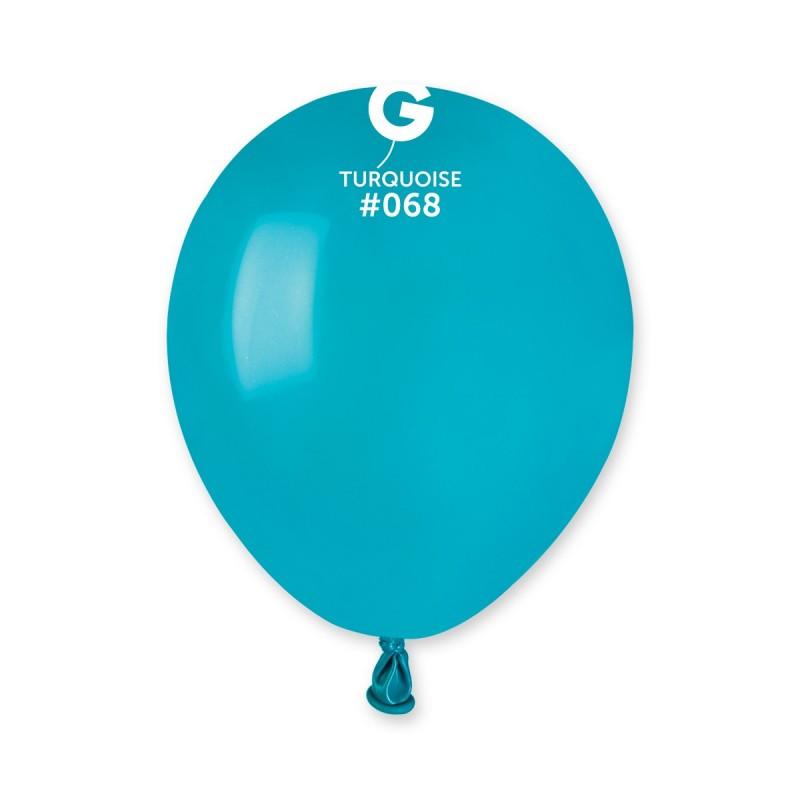 Латексные воздушные шары Gemar A50, расцветка: Пастель Темно-бирюзовый, Диаметр 13 см, 100 шт.