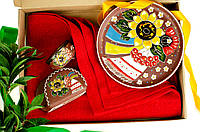 """Украинский набор керамической посуды """"Солнца лучи"""", посуда из керамики с орнаментом ручной работы"""