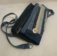 Сумка-клатч джинсовая женская с декоративной отделкой. Ручная работа