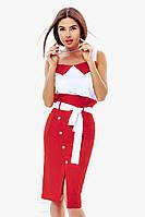 Деловой красно-белый женский костюм в морском стиле S M L XL