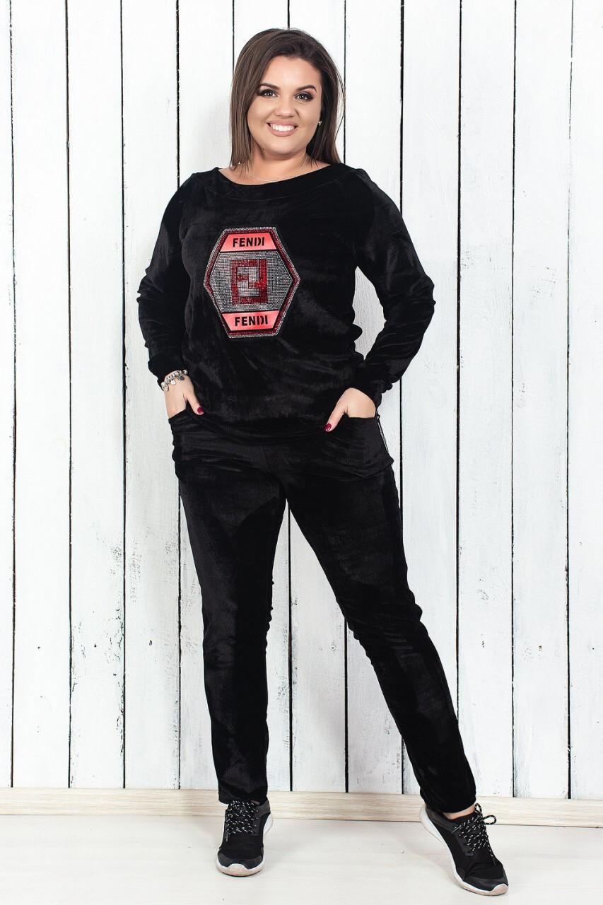 Женский спортивный костюм бархатный ма29073 - 48-54  продажа efd00103f5e58