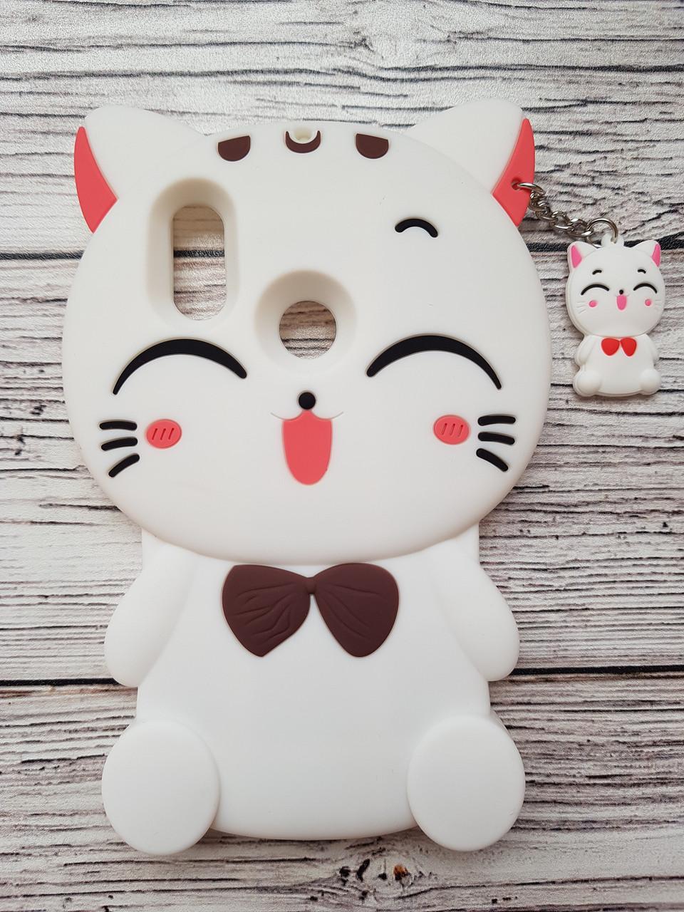 Объемный 3D силиконовый чехол для Xiaomi Mi A2 Lite Кошечка белая