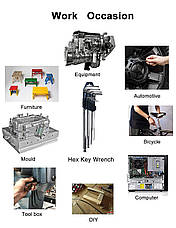 Набор Г-образных шестигранных ключей с удлиненной рукояткой GS Tools 9 шт, фото 3