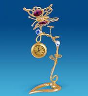 """Позолоченная фигурка с часами """"Бабочка на ветке"""" с цветными кристаллами Сваровски"""