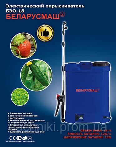 Аккумуляторный садовый опрыскиватель Беларусмаш 18 Л, 12 Aч, фото 2