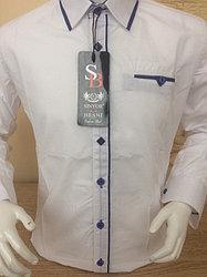Белая турецкая детская рубашка с синей вставкой SENIOR BENSI (размеры 2,3,4,5)