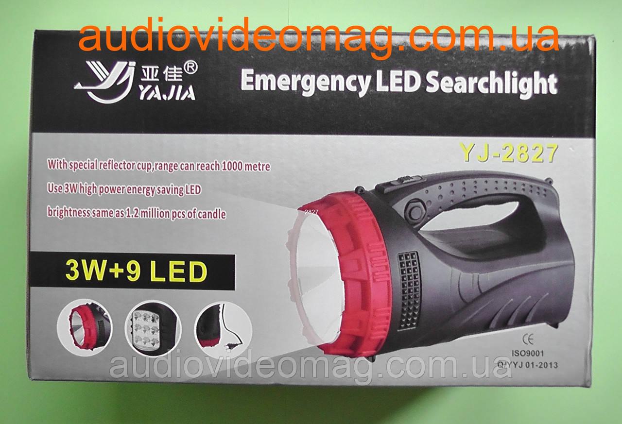 Фонарь 2827 (3Wt + 9 LED) большой, аккумуляторный