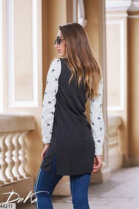 Модный удлиненный женский жилет на молнии Размеры 42,44,46, фото 2