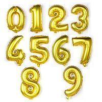 """Воздушный шар цифра """"6"""" золотой 32 дюйма для гелия"""