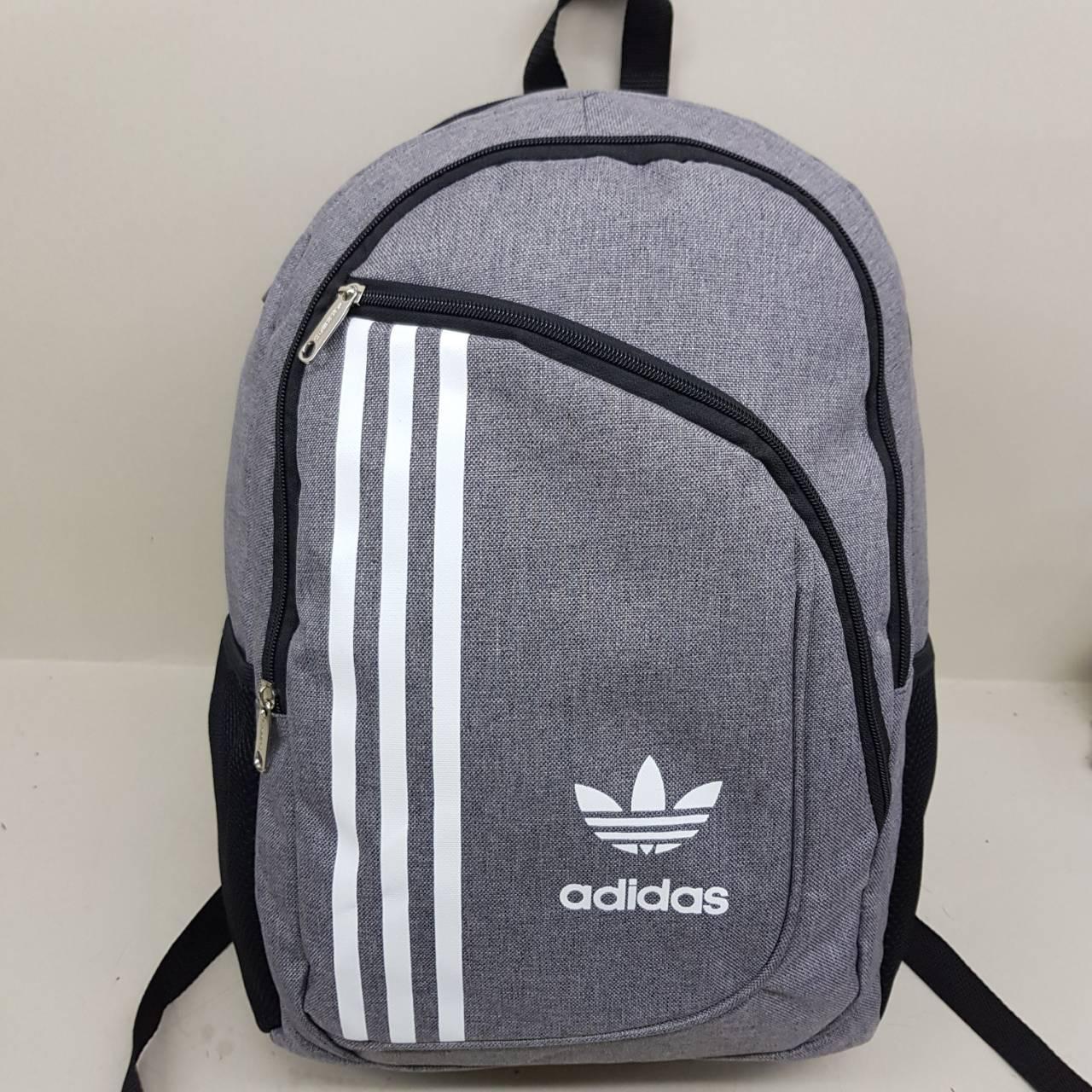 7015415070f0 Спортивный городской рюкзак Adidas серый на два отделения Адидас мужской  женский