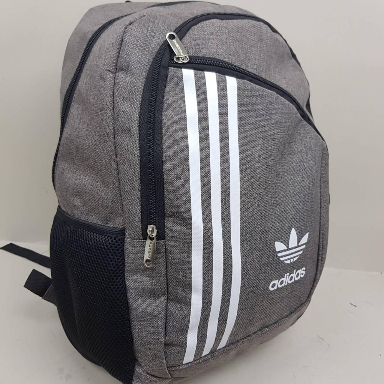 8cddb014b33e Спортивный городской рюкзак Adidas темно серый на два отделения Адидас  мужской женский