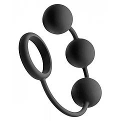 Анальные шарики Tom Of Finland Silicone Cock Ring with 3 Weighted Balls, КОД: 281499