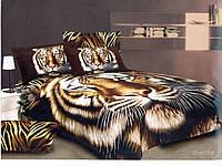 Комплект двуспального евро постельного белья Тигры 3D сатин