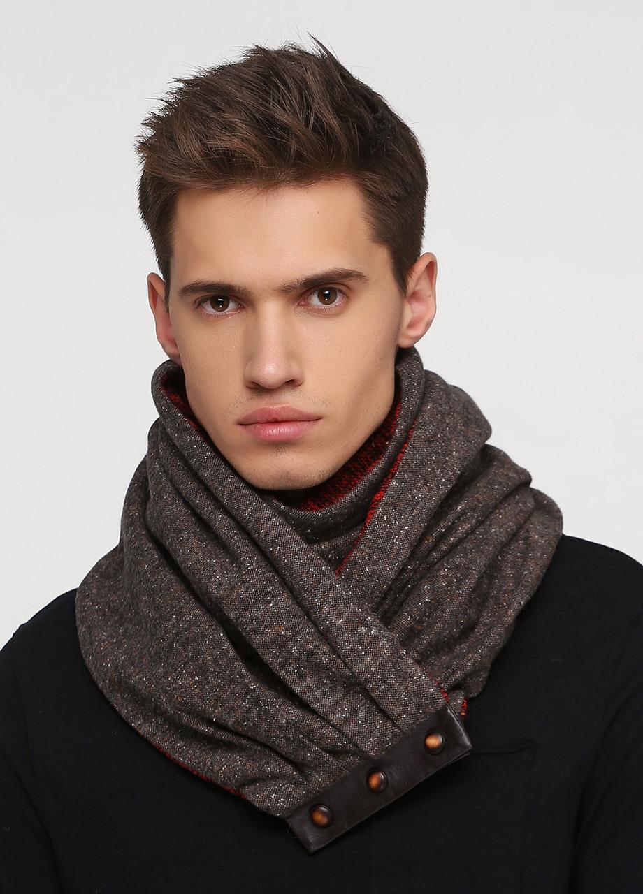 Дизайнерский шерстяной шарф-снуд ручной работы TamiMore унисекс (010)
