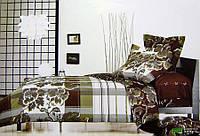 Комплект семейного постельного белья с мако-сатина Пион коричневый