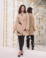 """Женское пальто из кашемира """"Журавли"""" бежевое, фото 1"""