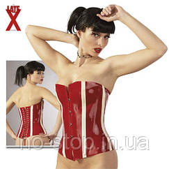 БДСМ корсет - 2900211 Latex Korsett, red / white, XXL