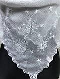 Однотонний білий хустку з вишивкою (кол.102), фото 2