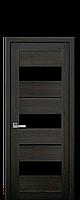 Межкомнатные двери Лилу с чёрным стекломДуб Мускат